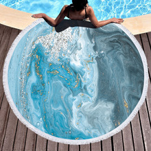 Marble Large Round Beach Towel Microfiber Quick-Dry Beach Towel With Tassels Compressed Summer Bath Towel For Adults Yoga Mat round tie dyed tassels sarong beach throw