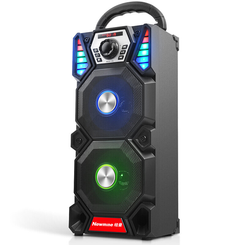 Newmine A1 Outdoor LED Light Bluetooth Speaker Wireless Support TF Card FM Mic Square Party Pull Rod KTV Portable Subwoofer 6