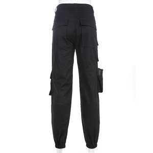 Image 5 - Sweetown מטען שחור מכנסיים נשים אופנה 2020 כיסי טלאי היפי מכנסיים מזויף רוכסן ארוג גבוהה מותניים מכנסיים Streetwear