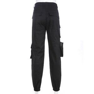 Image 5 - SweetownสีดำCargoกางเกงแฟชั่นผู้หญิง 2020 กระเป๋าPatchwork HippieกางเกงปลอมซิปทอเอวStreetwearกางเกง