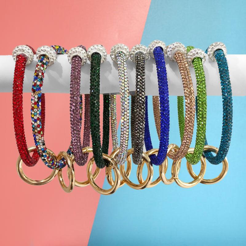 Flatfoosie Hot Sale Crystal Big Circle Key Chain Women Wristlet Keychain Girl PU Leather Key Ring Wrist Strap Wholesale Gifts
