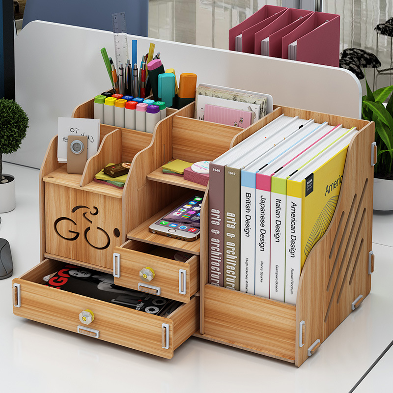 Drawer-Organizer Storage-Box Wooden Multifunctional Small Office-Desk Multilayer Dormitory