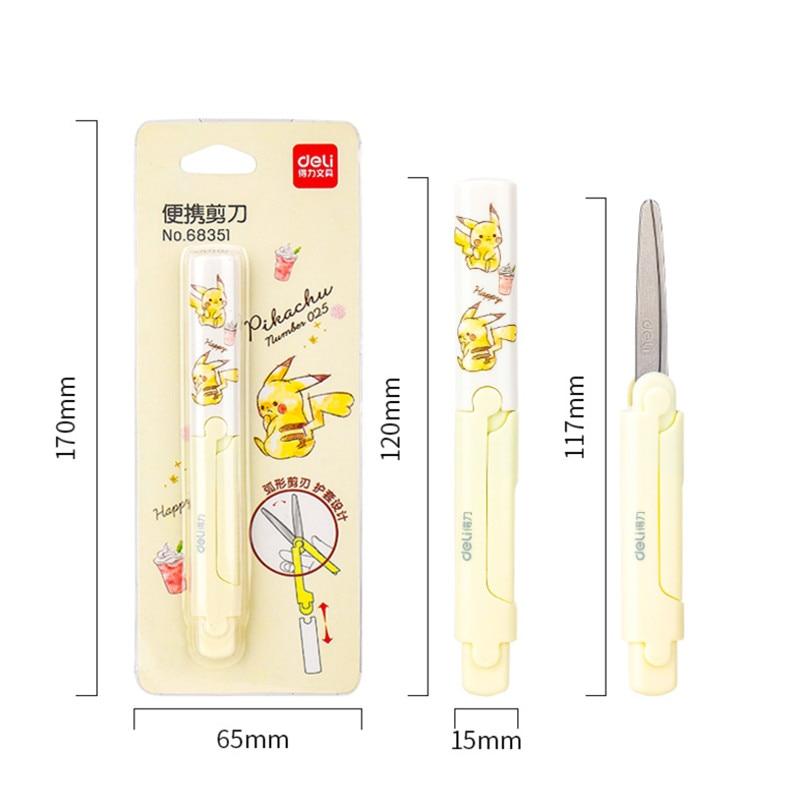 Deli Pikachu Portable Scissors Primary School Children Hand-made Paper-cutting Scissors Hand Scissors 68351