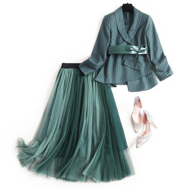 Elegant Two Piece Set Women Office Stripe Blazer Coat With PU Belt+Long Mesh Irregular Skirts Set 2020 Spring Fall OL Blazer Set