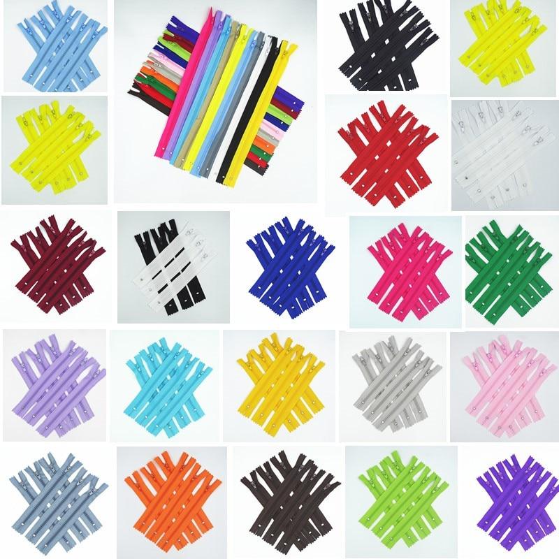 10Pcs Mix 3# ( 10Cm-100Cm ) Closed Nylon Coil Zipper Suitable For Clothes 20 Colors