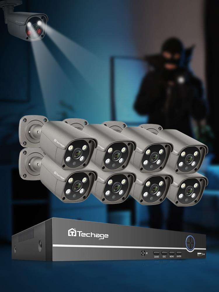 Techage Surveillance-Camera-Set HDD Video Cctv-Security-System Audio-Ai POE Outdoor 8ch 5mp