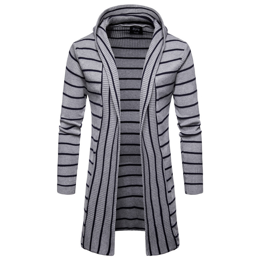Men s Hooded Solid Knit Stripe Coat Jacket Cardigan Durable Enought For Your Daily Wearing Long Innrech Market.com