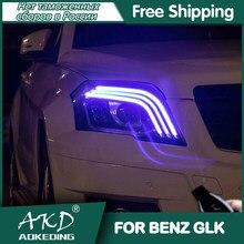 Dla samochodów BENZ GLK 300 reflektory 2008-2012 DRL światła do jazdy dziennej LED Bi Xenon żarówki samochodowe światła przeciwmgielne akcesoria glk 200 260 lampa czołowa