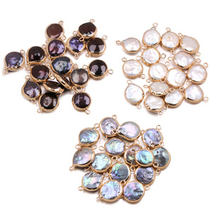 Elliptical Double Hole Connector Charms Natural Freshwater Pearl Pendant for Jewelry Making DIY Earrings Necklaces Accessories