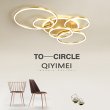 Modern LED Chandelier-Lighting Dimmable Lampadario Lustres Study-Room Gold Living White