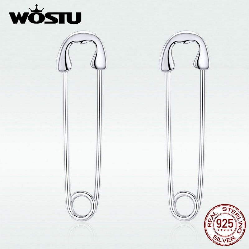 WOSTU Real 925 Sterling Silver Pin Cartilage Fashion Earrings Minimalist Style Punk Earrings For Women Party Jewelry BKE695-A