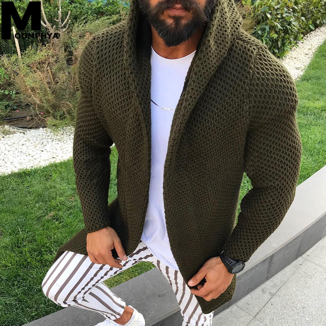 Moomphya Knitted Cardigan Men Long Style Hooded Men Sweater Coat 2019 Streetwear Sweater Jacket Men Casual Winter Sweater Men