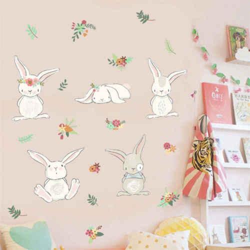 50x70cm Rimovibile Cartone Animato Coniglio Adesivi Murali Coniglio Murale Della Decalcomania FAI DA TE Complementi Arredo Casa