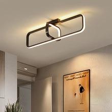 Светодиодная потолочная люстра для коридора, Современная черная прямоугольная лампа для прихожей, балкона, спальни, гостиной, комнатное ос...