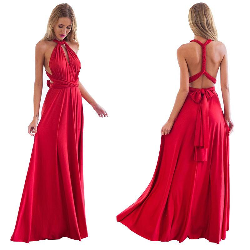 Vicabo Women Fashion Cocktail Robe Vestido Floor Length Floor-Length Dress Ladies Sexy Backless Gown Halter Neck Tied Up Dresses