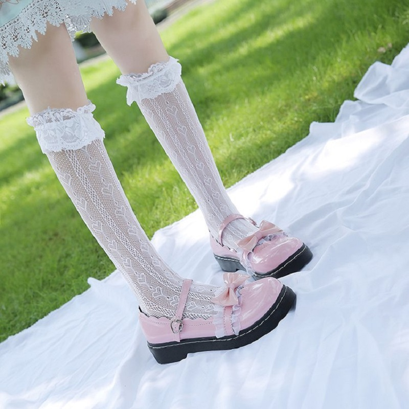 Japanese College Students Girls Round Toe Buckle Straps Bowknot Shoes Lolita JK Commuter Uniform Sweet Lolita PU Leather Shoes