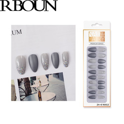 Fake Nails Art Tips Press on Tipsy with Giue Coffin Stick Designs Clear Display Set Full Cover Artificial Box Short False Kiss