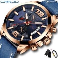 CRRJU мужские часы лучший бренд класса люкс хронограф кварцевые часы мужские военные спортивные водонепроницаемые часы кожаный часы Relogio мужской
