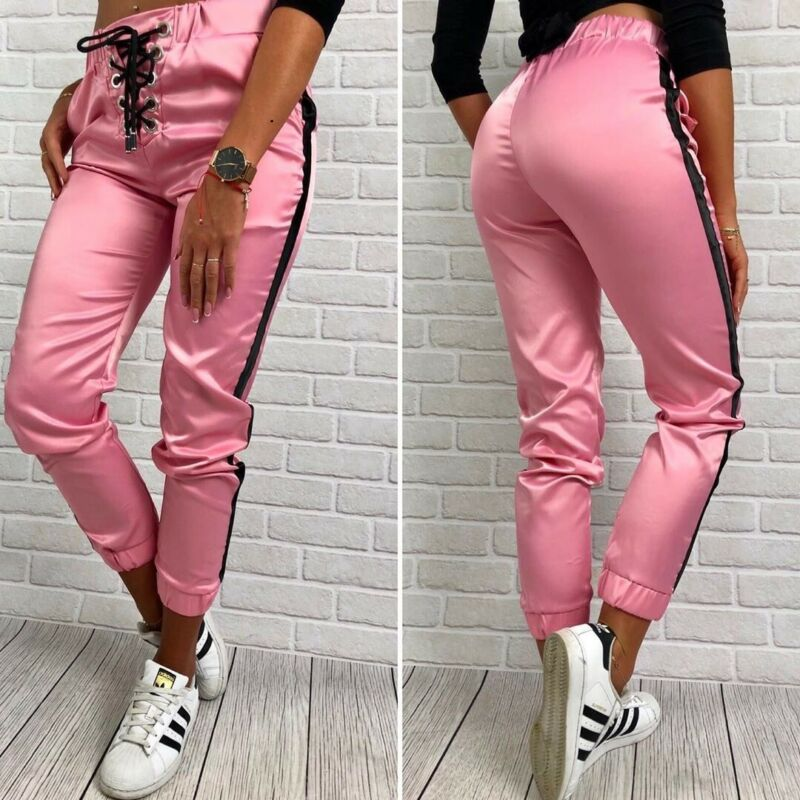 New Sports Solid Skinny Pants Tie High Waist Leggings Ladies Trouser Women Long Sports Pants