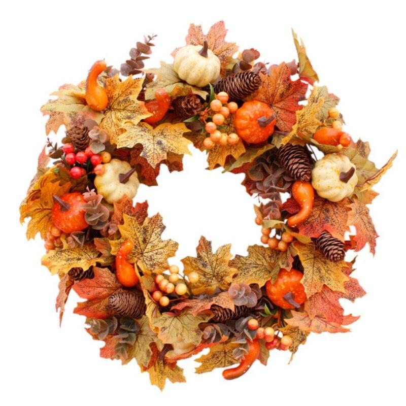 noel-thanksgiving-automne-couleur-guirlande-fenetre-restaurant-maison-feuille-d'erable-decoration-ornements-vacances-pendentif-couronne-1