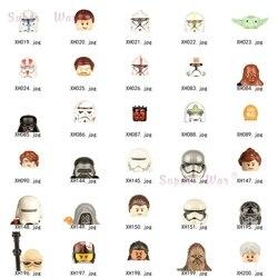 Único estrelas darths vaders clonees storm troopers kylos yodaes c3po maul cabeça acessórios blocos de construção brinquedos série-108