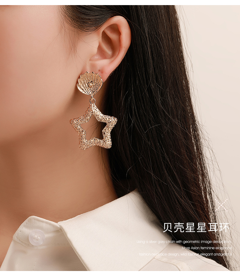 ZYZQ Romantic Korean Stylish Hollow Out Star Earrings For Women With Cute Conch Design Luxury Party Accessories Gift Earrings