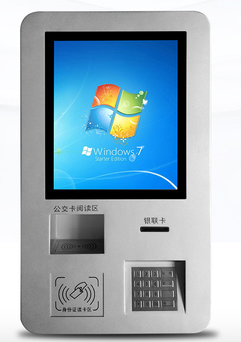 Wall Mounted Self Service Lcd Touch Screen NFC / ORC Card Reader Terminal Kiosk