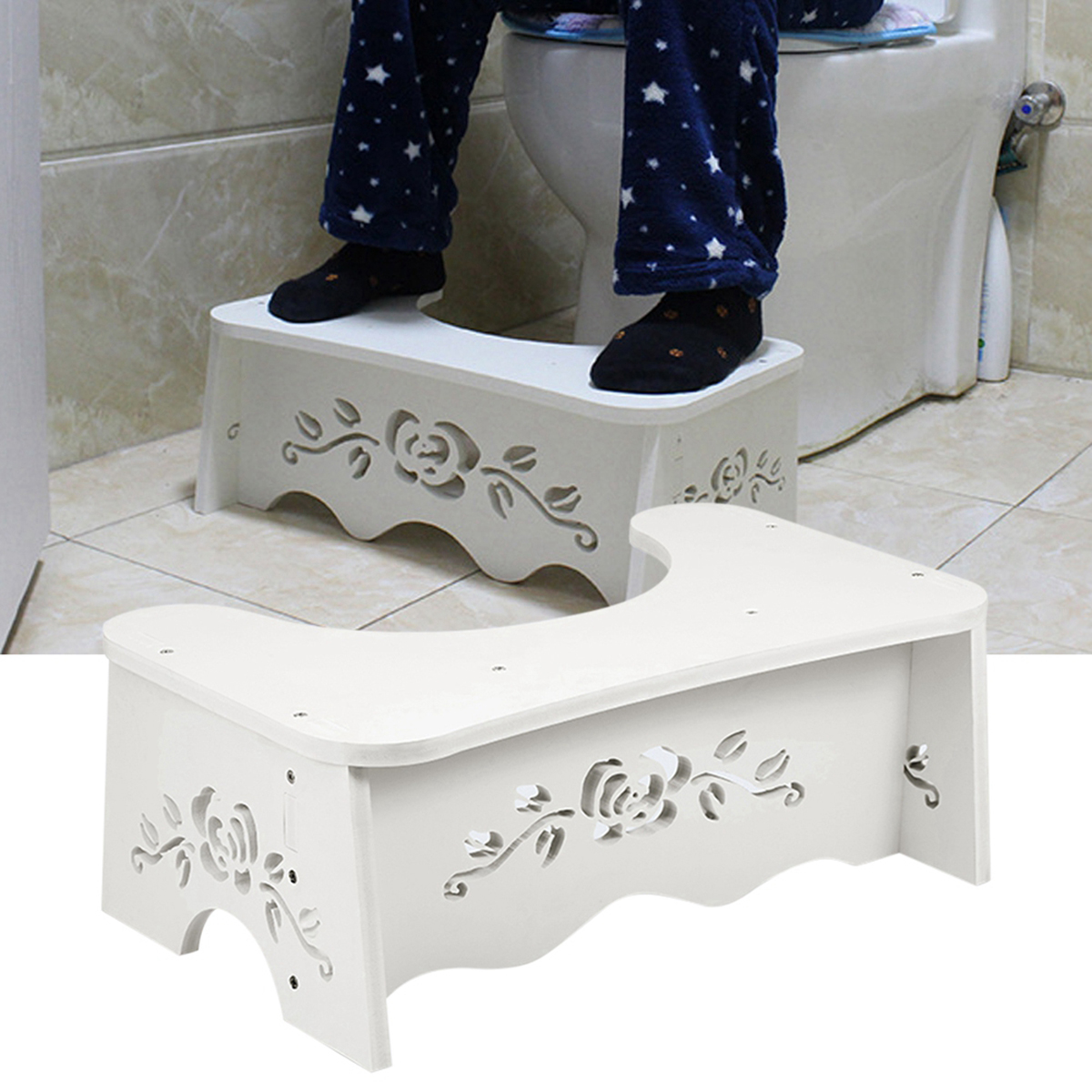 Non-slip Toilet Stool Bench For Commode Aid Squatty Step Foot Stool Potty Help Prevent Constipation Bathroom Supplies Auxiliary