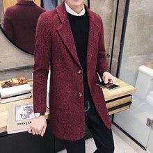 2019 Brand clothing New Winter Wool Long Coat Men Warm Black Business Overcoat Mens Stylish Woolen Jacket Parka Plus size S-3XL