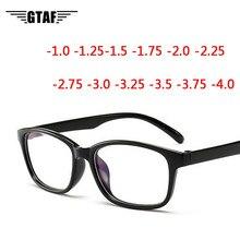-1,0-1,25-1,50-1,75-2,0-2,5-3,0-4,0-moda Vintage de refracción miopía gafas mujeres hombres-gafas de vista marco negro