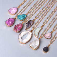 Metal chain healing energy necklace for women Dyed Natural crystal agat druzy crystal Minerals gem stone pendant charm necklace