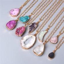 Metal zincir şifa enerji kolye kadınlar için boyalı doğal kristal agat druzy kristal mineraller taş taş kolye charm kolye