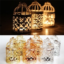Hollow Out Iron Birdcage Shape Candlestick Home Hotel Ornament Holiday Christmas Wedding Decor Candle Holder