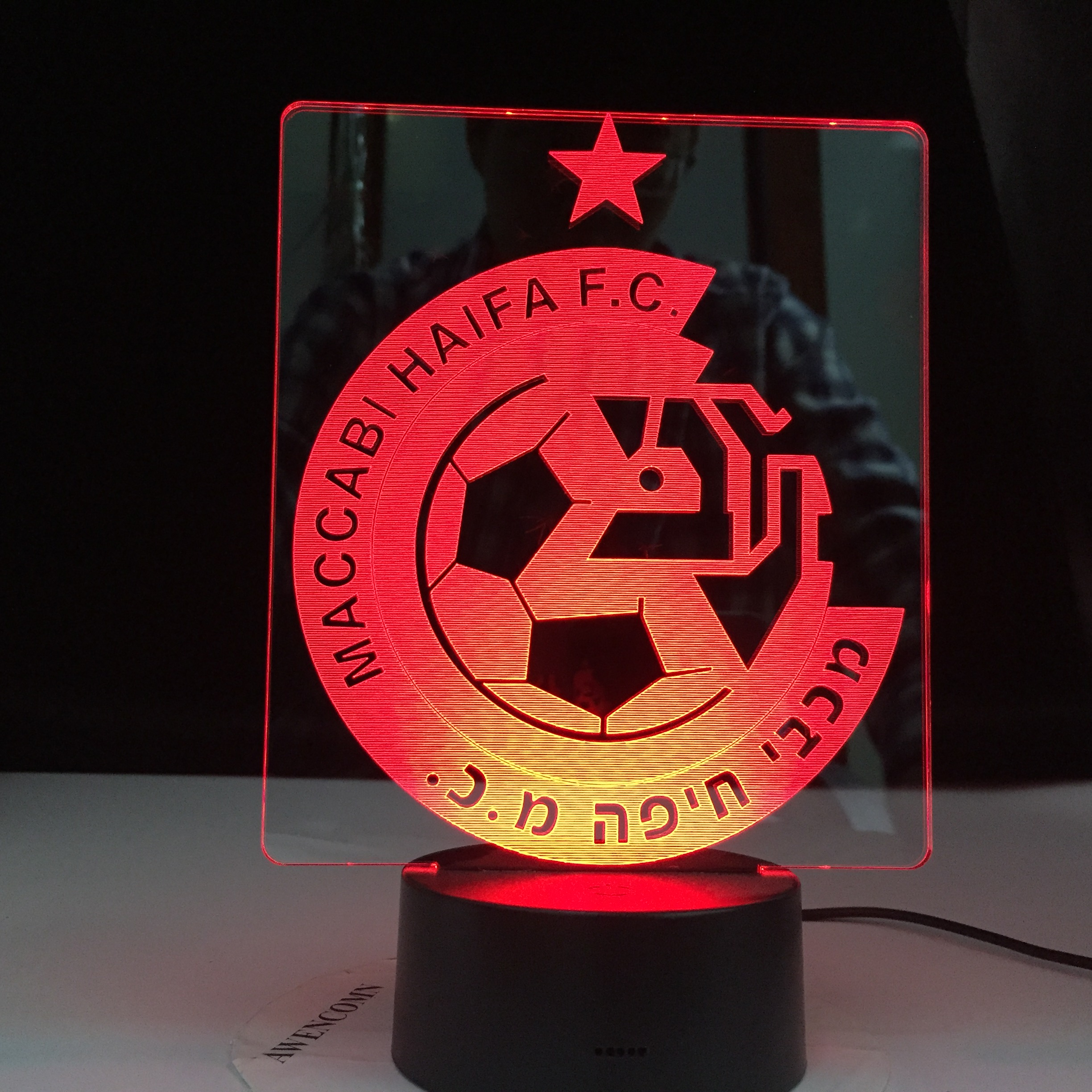 Maccabi Haifa F.C Club Soccer 3D LED Lamp Table Lamp Acrylic Creative Decorations Bedroom Sleeping Nightlight Gift Dropshipping