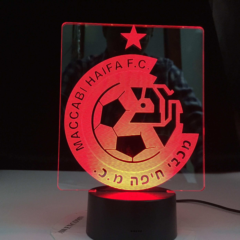 Maccabi Haifa F.C Club Soccer 3D LED Lamp Table Lamp Acrylic Creative Decorations Bedroom Sleeping Nightlight Gift Dropshipping