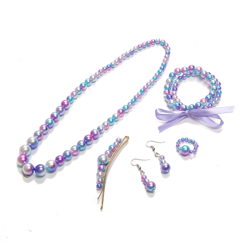 Kawaii Colorful Handmade Imitation Pearls Necklace Bracelet Girls Gifts Children Jewelry Necklace