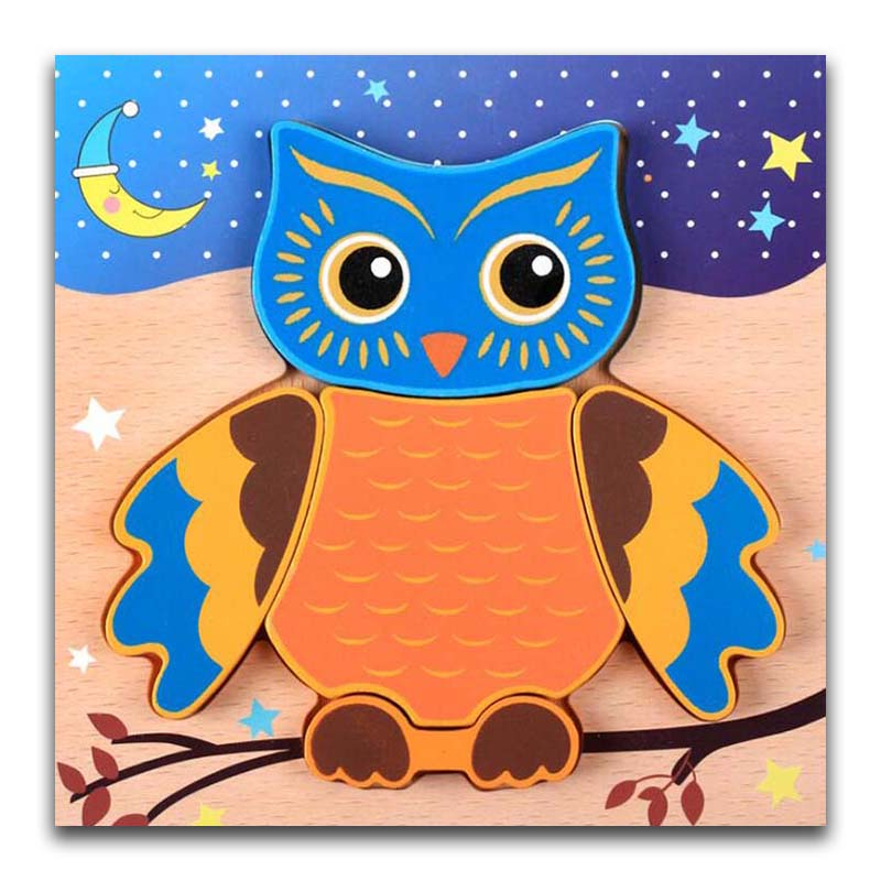 Baby Wooden 3D Puzzle Jigsaw Wooden Toys For Children Cartoon Owl Animal Puzzle Intelligence Kids Educational