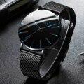 Männer der Mode Ultra Dünne Uhren Business Edelstahl Mesh Quarzuhr dame uhr für frau luxus wasserdicht reloj hombre
