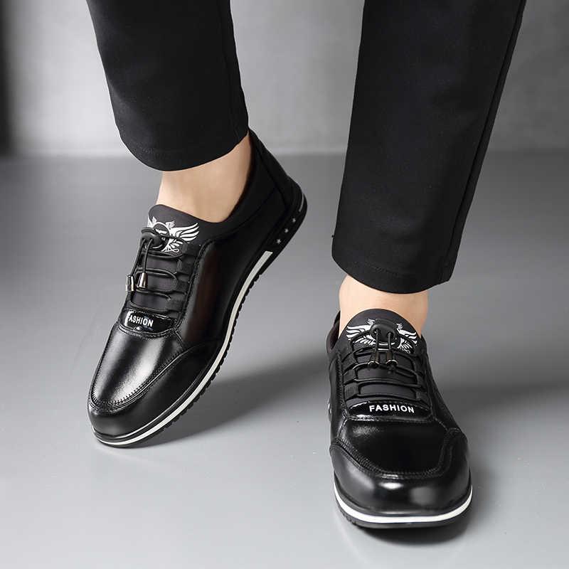 Pria Sepatu Kulit Asli Pria Sepatu Kasual Mode Rendah Renda-Up Kulit Sapi Sepatu Datar Zapatillas Hombre Pria Mengemudi sepatu