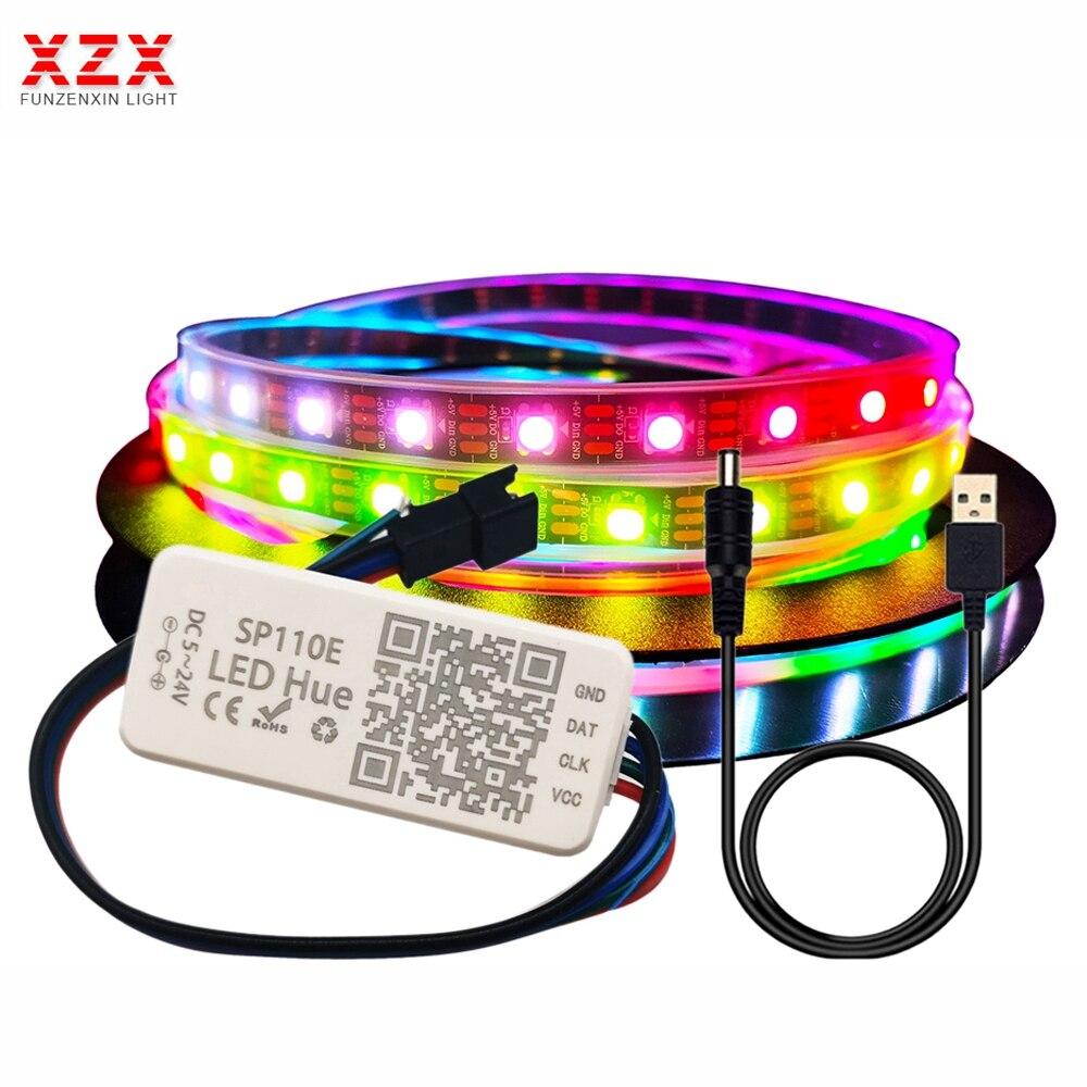 Светодиодная лента WS2812B , 5 в постоянного тока , WS2812, RGB, регулируемая, USB, SP110E, контроллер Bluetooth, водонепроницаемая, 30/60/144 пикселей