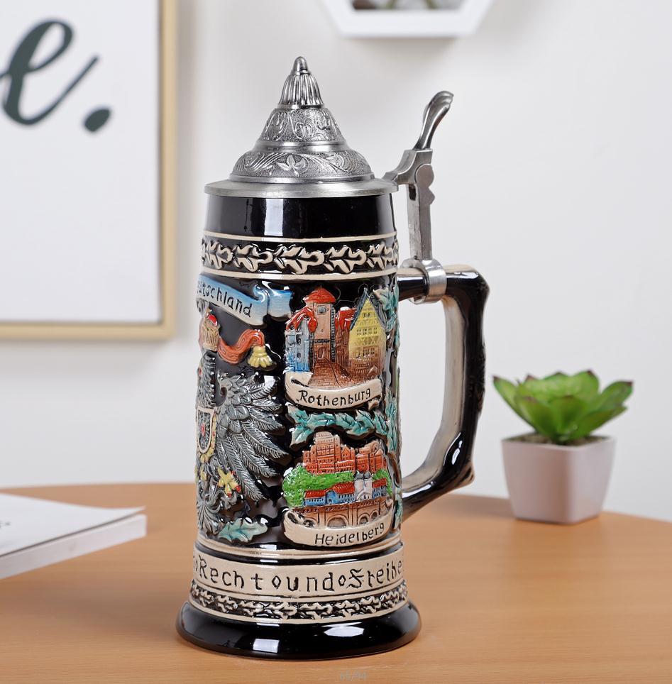 Скандинавском стиле Дворцовая керамическая рельефная чашка для воды винтажная креативная пивная чашка из нержавеющей стали Кружки Кофейн... - 2