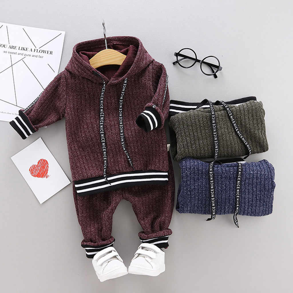 Toddler Kids Baby Boys Hooded Warm Knit solid clothes set Crochet Sweater Long Pants boutique Tracksuit clothing Outfits Set