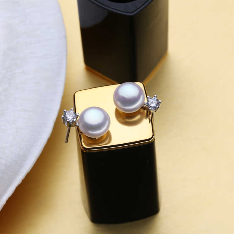 Fenasy natural pérola conjuntos de jóias para as mulheres clássico coroa pérola brincos 925 prata esterlina bonito brincos anel conjunto