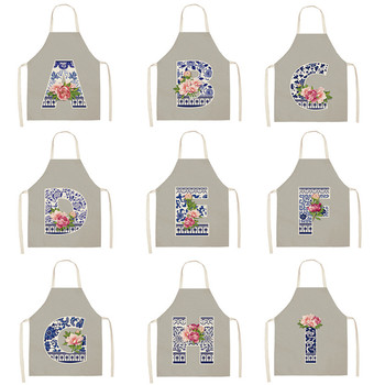 Porcelain Letter Printed Kitchen Apron for Woman Man Cotton Linen Flowers Aprons for Cooking Home Cleaning Tools image