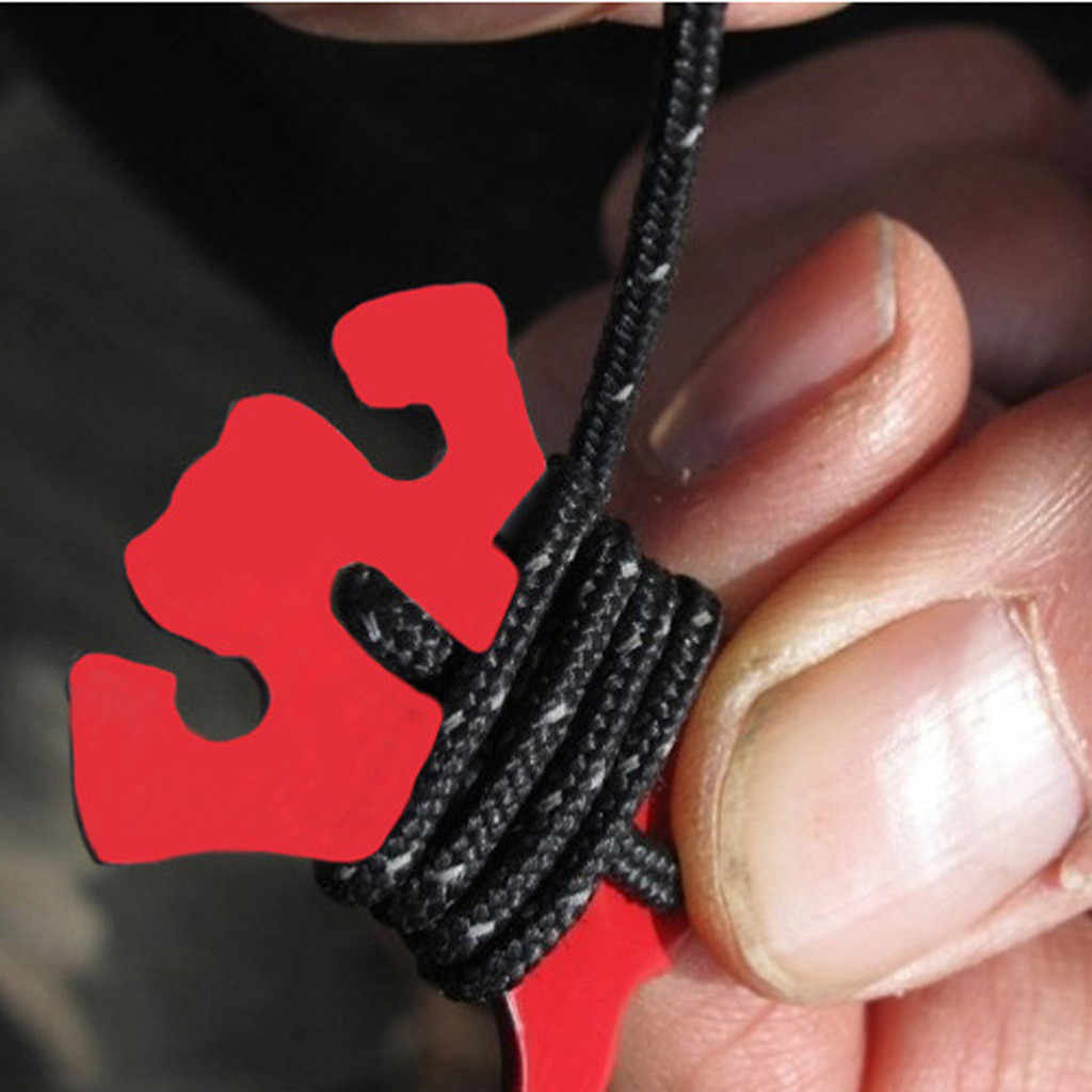 2 Holes Camping Awning Cord Rope Tensioner Guy Line Aluminum Cord Adjuster for Tent Camping Hiking Backpacking Outdoor Activity