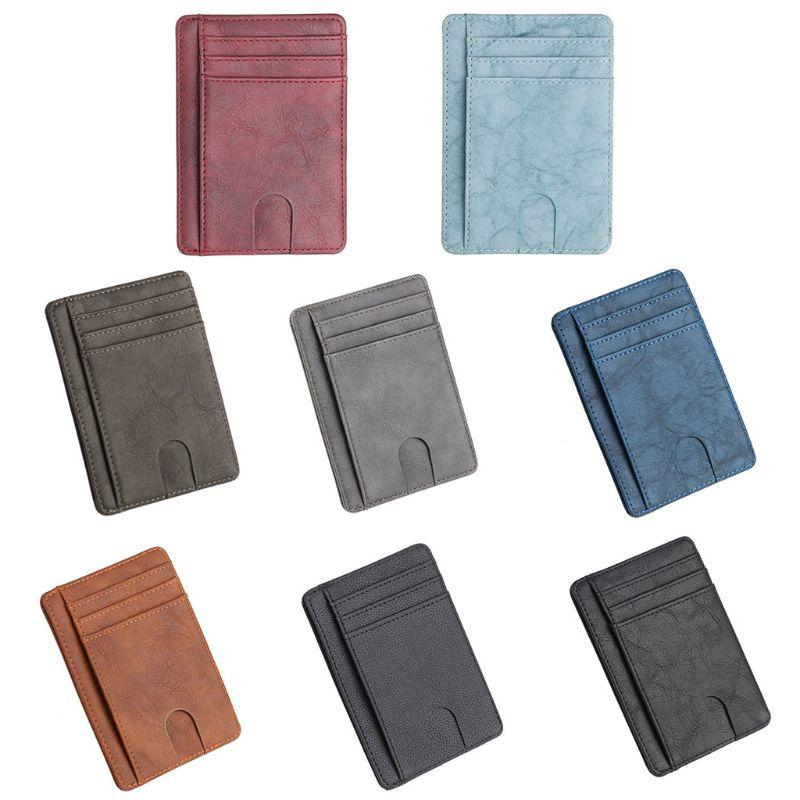 Mince RFID bloquant le portefeuille en cuir porte-carte d'identité de crédit porte-monnaie étui pour hommes femmes M5TE