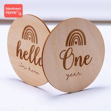 Sello de recuerdo de bebé, foto conmemorativa mensual hecha a mano, Mes de madera, 14 piezas