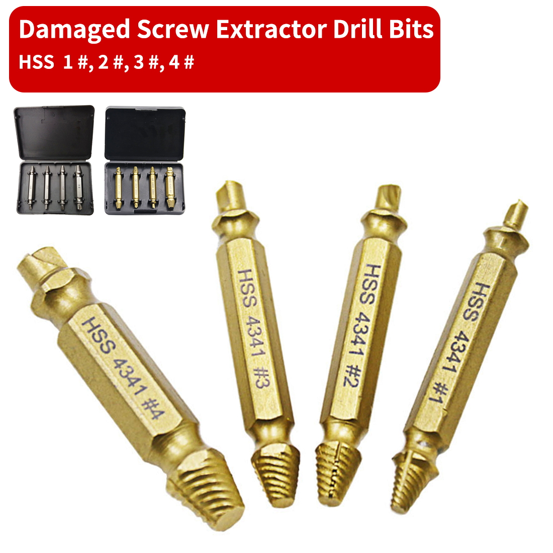 4pcs 1# 2# 3# 4#  Screw Extractor Broken Damaged Screw Extractor Drill Bit Guide Set Broken Bolt Fastener Remover HSS