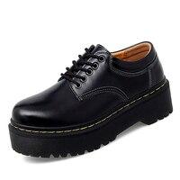 Zapatos de Mujer Zapatos de moda de tacón cuadrado Calzado Mujer PU Zapatos de cuero de las mujeres Zapatos de Mujer Zapatos Mujer 35-41 superior Zapatos a prueba de agua