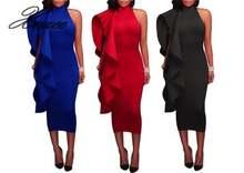 Осень 2020 женское однотонное платье миди с оборками xnxee